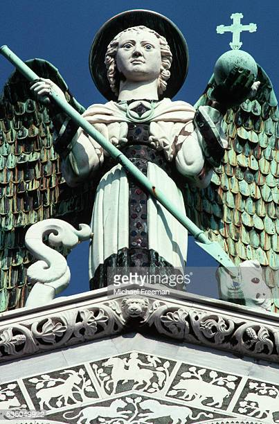 Sculpture of St Michael the Archangel on San Michele in Foro