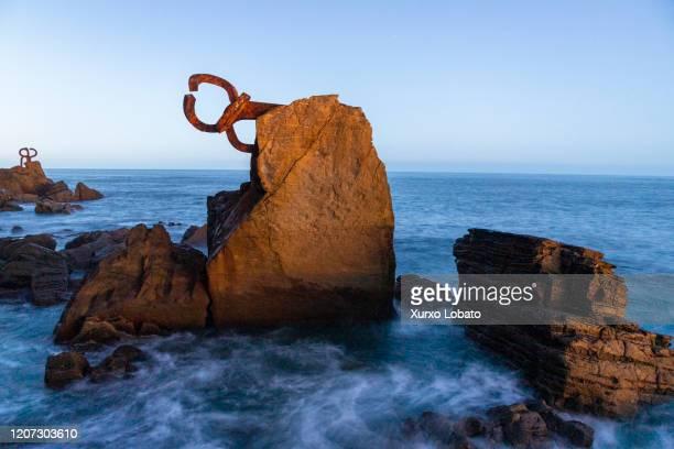 "Sculpture of the Basque artist Eduardo Chillida ""u201cPeine del viento""u201d located on the Paseo de la Concha, in San Sebastian as seen January 2..."