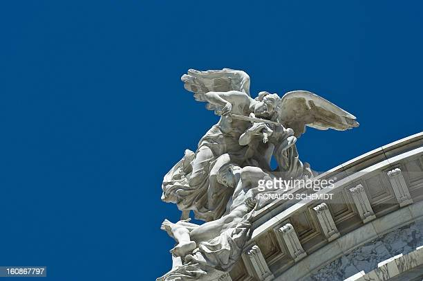 Sculpture of the Fine Arts Palace in Mexico City on February 5 2010 The theatre is used for classical music opera and dance presentations The...