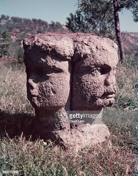 Sculpture of the two headed god Janus in the ornamental Bombarzo gardens 60 miles east of Rome