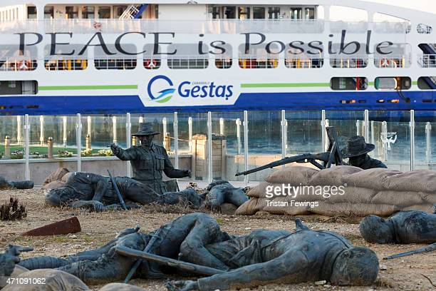 A sculpture of trench warfare depicticing the Gallipoli campaign in Eceabat on April 25 2015 in Eceabat Turkey Turkish and Allied powers...
