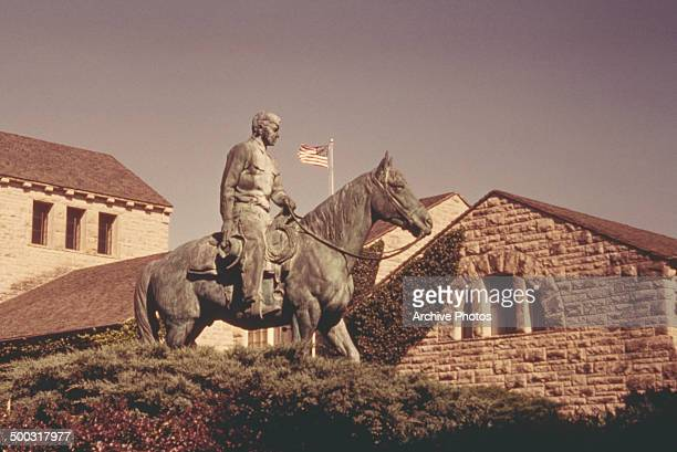 A sculpture of Will Rogers at the Will Rogers Memorial Claremore Oklahoma USA circa 1960