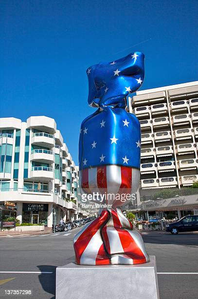 Sculpture of wrapped candy with U.S. flag.