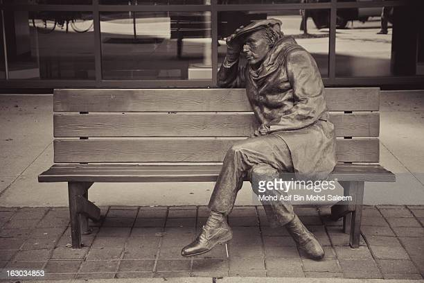 Sculpture on a bench in Toronto, Canada.