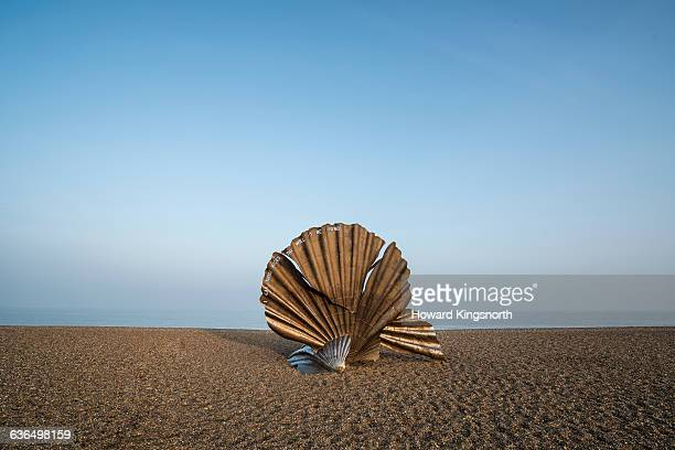 sculpture on beach - aldeburgh stock photos and pictures