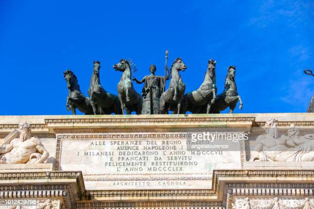 Sculpture on the Arch of Peace, Porta Sempione, Milan, Lombardy, Italy