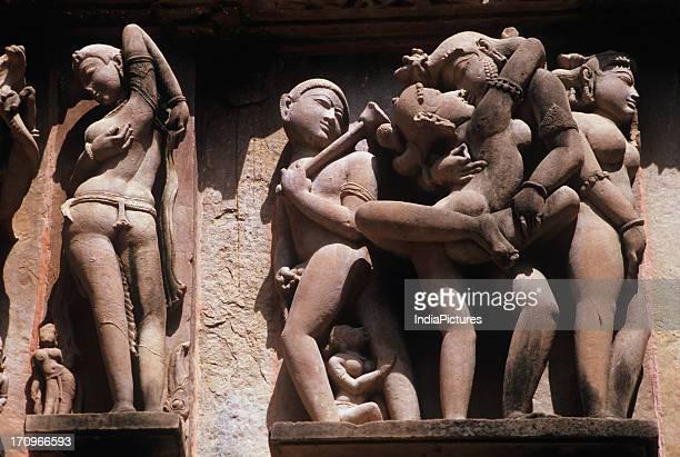 Sculpture on the walls of Khajuraho Temples Laxmana temple Khajuraho Madhya Pradesh India