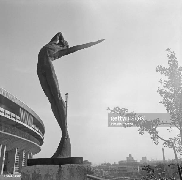 Sculpture outside the National Stadium in Kasumigaoka, Shinjuku, Tokyo, Japan, 1964.
