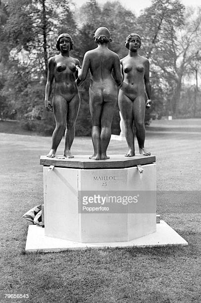 12th May 1948 'The Three Graces' by French sculptor Aristide Malliol pictured in Battersea Park London