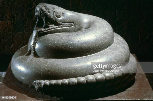 AZTEC sculpture representing a rattlesnake dating from the Late Postclassic period preserved at the National Museum of Anthropology in Mexico City...