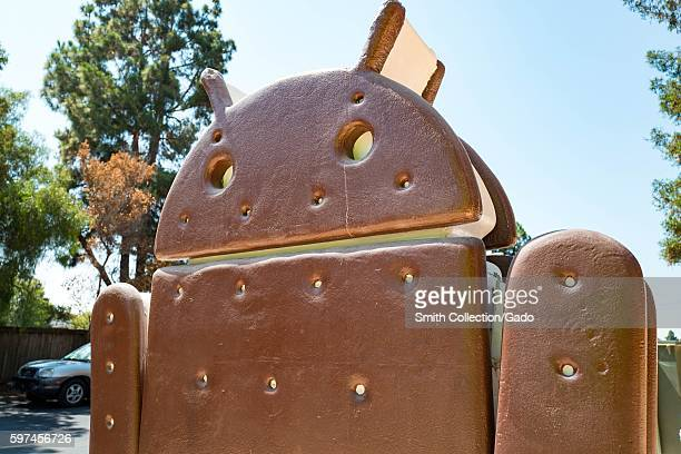 Sculpture representing Version 40 of the Android cellphone operating system which was codenamed 'Ice Cream Sandwich' at the Googleplex headquarters...