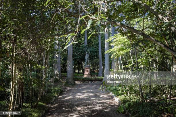 A sculpture sits on a path among tropical plants in the botanical gardens at the Villa Les Cedres a 187yearold000squarefoot 14bedroom mansion set on...