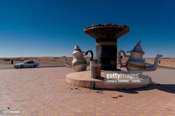 A sculpture that represents the symbols of the Sahrawi people on the centre of a roundabout that connects the Sahrawi refugee camps on January 3 2019...