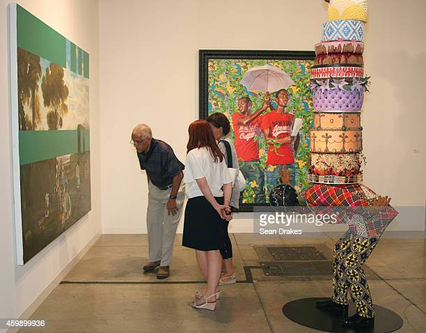 Sculpture titled Cake Man III by Yinka Shonibare is displayed during the Art Basel Miami Beach at Stephen Friedman Gallery on December 03 2014 in...