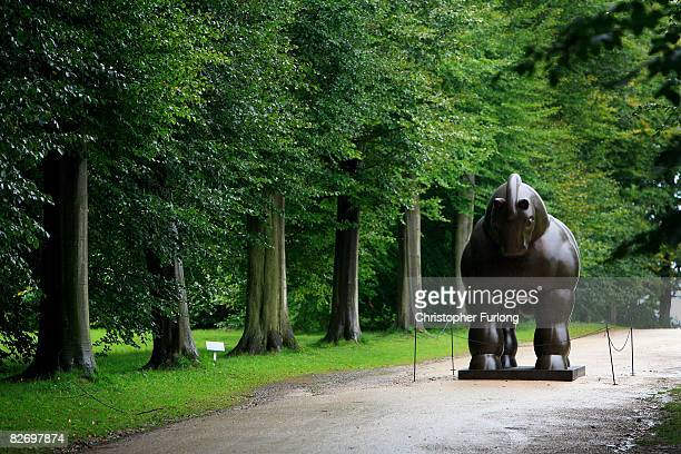 A sculpture titled Horse by Fernando Botero stands in the gardens of Chatsworth House on 4 September Chatsworth England The exhibition Beyond Limits...