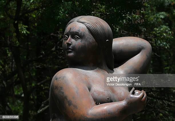 BUCARAMANGA COLOMBIA SEPTEMBER 08 A sculpture titled 'Mujer die Pie Desnuda' created by Maestro Fernando Botero is seen prior to FIFA Futsal World...