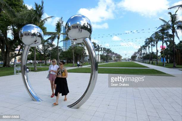 Sculpture titled 'Navel of the World' by Daniel Knorr on exhibit at the Bass Museum as part of Art Basel Miami Beach on December 05 2017 in Miami...
