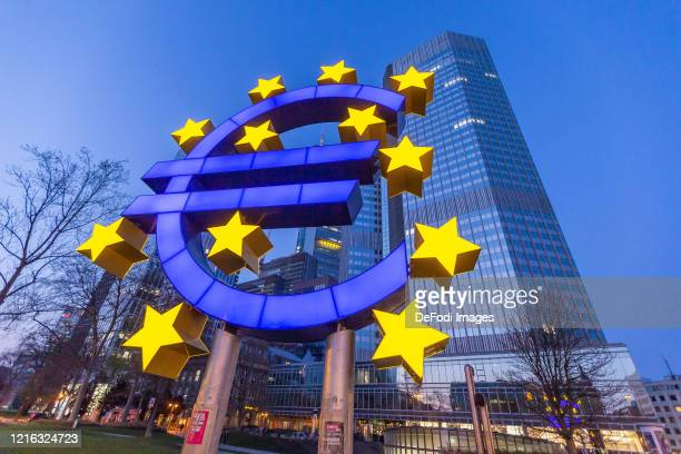 Sculpture with the euro logo in front of the European Central Bank building on March 27, 2020 in Frankfurt am Main, Germany.