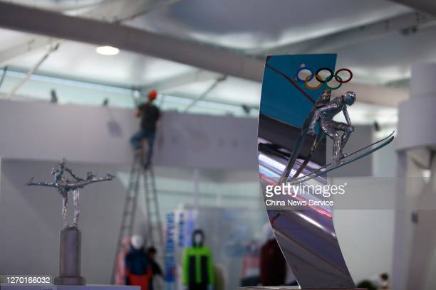 A sculpture with winter olympic elements is seen during the 2020 China International Fair for Trade in Services on September 1 2020 in Beijing China