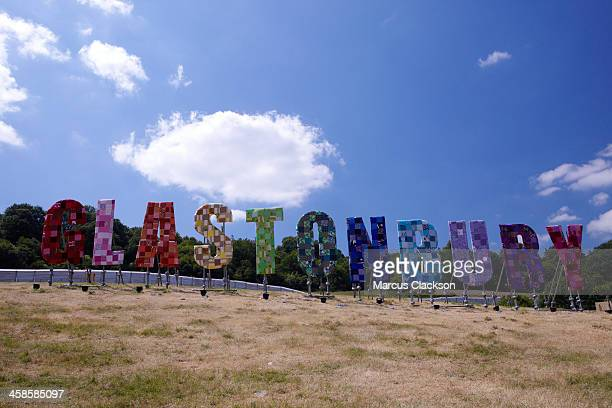 Sculpture Wording on the hill overlooking Glastonbury Festival.