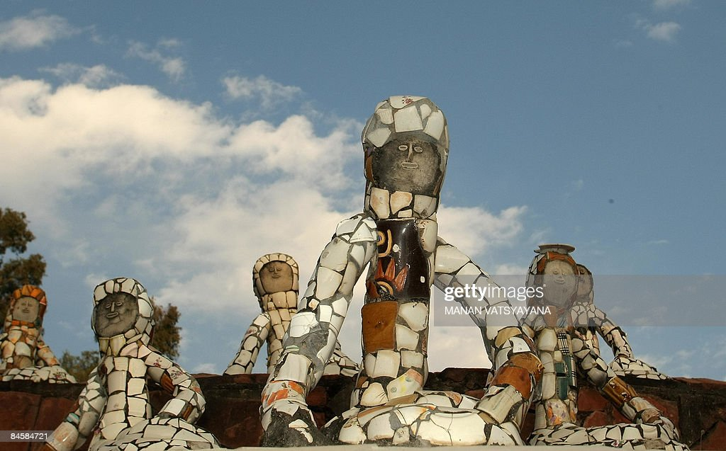 Sculptures are seen at the Rock Garden in Chandigarh on February 2 2009 The Rock Garden which spreads over 40 acres was built by Indian man Nek Chand.