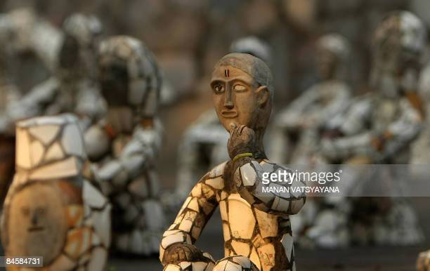 Sculptures are seen at the Rock Garden in Chandigarh on February 2 2009 The Rock Garden which spreads over 40 acres was built by Indian man Nek Chand...
