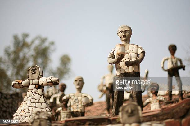 Sculptures are seen at the Rock Garden on March 26 2010 in Chandigarh India The 12acre Rock Garden which began as secret project of Nek Chand in 1957...