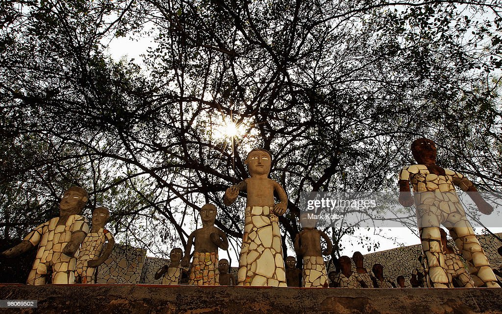 Sculptures are seen at the Rock Garden on March 26 2010 in Chandigarh India The 12acre Rock Garden which began as secret project of Nek Chand in 1957.