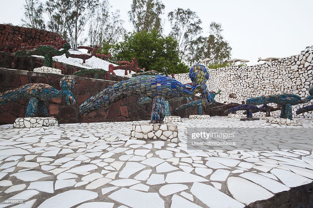 Sculptures at Rock garden by Nek Chand Saini Rock Garden of Chandigarh India