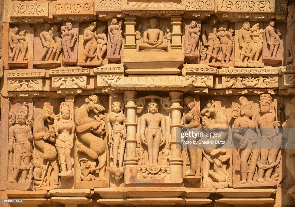 Sculptures at the walls of Parshwanath temple, Khajuraho : Stock Photo
