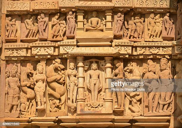 Sculptures at the walls of Parshwanath temple, Khajuraho