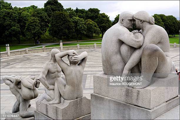 Sculptures by Gustav Vigeland in Frogner park in Oslo Norway on September 08th 2005