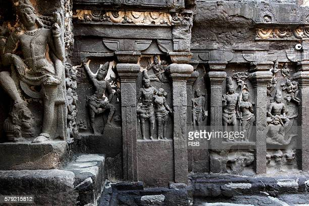 Sculptures in Courtyard of Ellora Cave Temple