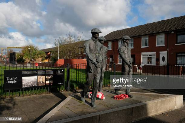 Sculptures in memory of the Titanic yardmen is erected near the old shipyard on the Newtownards Road on October 29 2019 in East Belfast United Kingdom