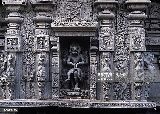 Sculptures in Sri Varaha Narasimhaswamy Temple, built in the 11th century, in Simhachalam near Visakhapatnam, Andhra Pradesh, India.