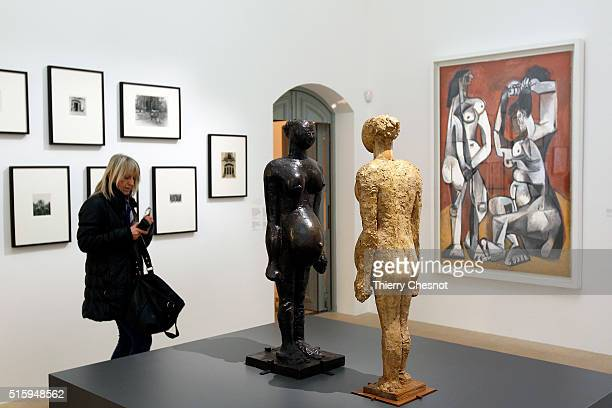 Sculptures La femme enceinte by Pablo Picasso are displayed during the exhibition PicassoSculptures at the Picasso Museum on March 16 2016 in Paris...