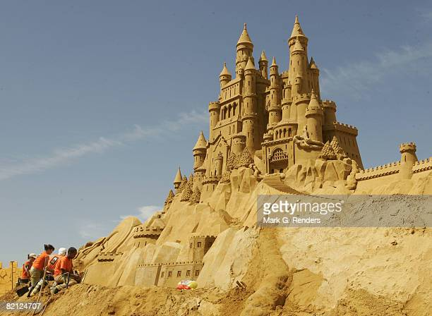 Sculptures made of sand inspired by fairytales are seen at the Annual Sea Sculpture Festival on June 28 2008 in Middelkerke Belgium