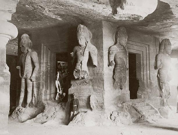 Sculptures of Hindu deities in the Elephanta Caves...