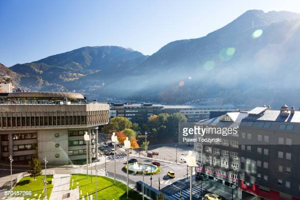 sculptures of jaume plensa in front of the general council of andorra - andorra la vella stock pictures, royalty-free photos & images
