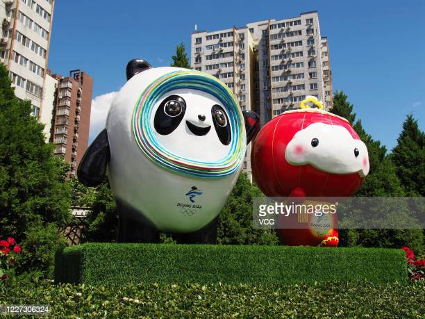 Sculptures of mascots for Beijing 2022 Winter Olympic Games 'Bing Dwen Dwen' and Beijing 2022 Winter Paralympic Games 'Shuey Rhon Rhon' are pictured...