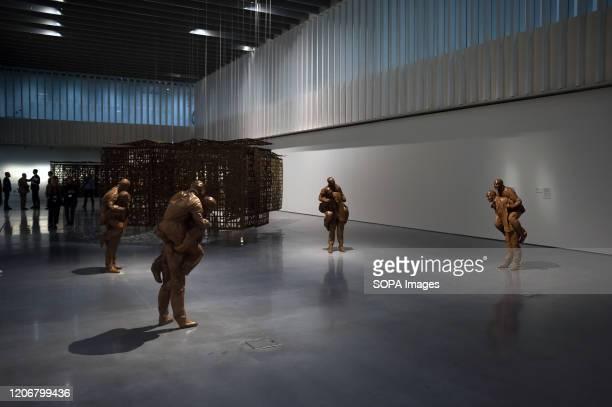 """Sculptures on display during the exhibition. """"De Miró a Barceló. Un siglo de arte español"""" exhibition at Centre Pompidou Museum, showcasing cubist,..."""