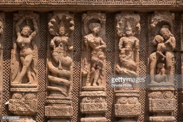 Sculptures on sun temple wall, konark, orissa, india, asia