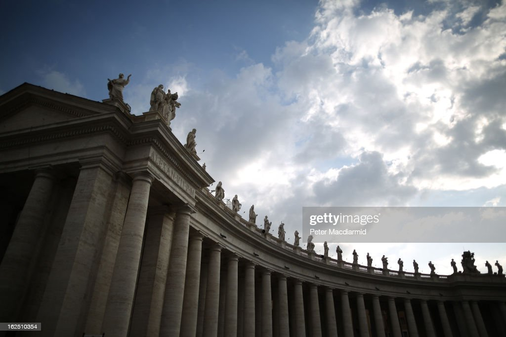 Sculptures on top of the Colonnades in St Peter's Square on February 24, 2013 in Vatican City, Vatican. The Pontiff will hold his last weekly public audience on February 27, 2013 before he retires the following day. Pope Benedict XVI has been the leader of the Catholic Church for eight years and is the first Pope to retire since 1415. He cites ailing health as his reason for retirement and will spend the rest of his life in solitude away from public engagements.