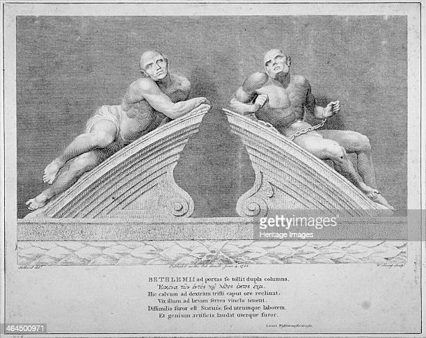 Sculptures outside the entrance to Old Bethlehem Hospital Moorfields City of London 1783 View of the figure sculptures from the pediment of the gate...