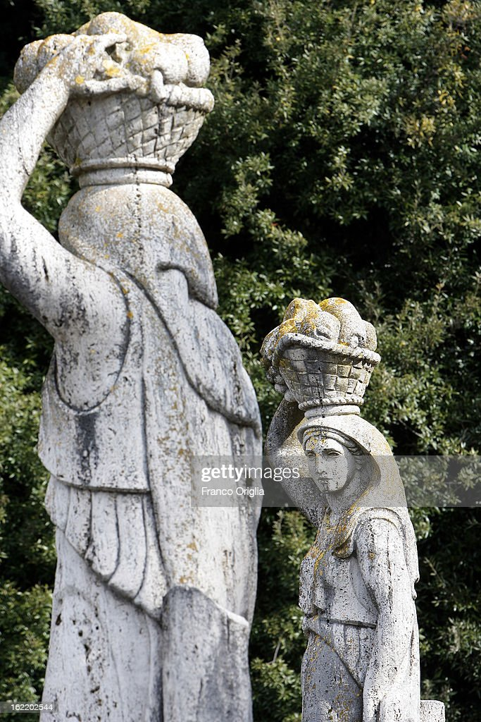Sculptures stand in the gardens of the Pontifical residence of Castelgandolfo on February 20, 2013 in Rome, Italy. The Apostolic Palace and The Ponifical Villas of Castelgandolfo, 10 miles south Rome, are the summer residence of Popes and will host Pope Benedict XVI during the next conclave.