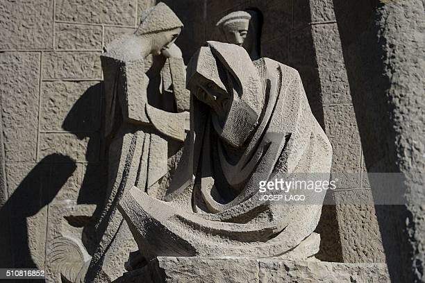 Sculputures on the Passion facade of the Basilica and Expiatory Church of the Holy Family , designed by Spanish architect Antoni Gaudi, are pictured...