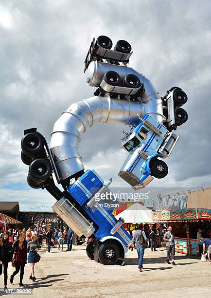 A sculture by Mike Ross entitled 'Big Rig Jig' is displayed as Banksy's Dismaland Bemusement Park opens to the public on August 28 2015 in...