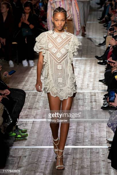 Sculy Mejia walks the runway during the Isabel Marant Womenswear Spring/Summer 2020 show as part of Paris Fashion Week on September 26 2019 in Paris...