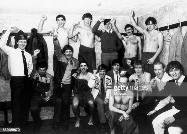 Scunthorpe United dressing room as players manager Allan Clarke celebrate after beating Leeds United in an FA Cup third round 2nd replay match at the...