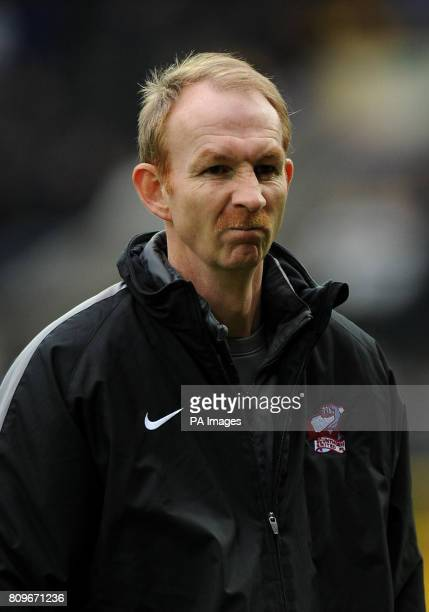 Scunthorpe United manager Alan Knill sports a Movember Moustache during the npower Football League One match at Meadow Lane Nottingham